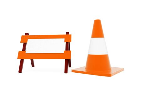 3d traffic cone and a barrier in white isolated background - 3d rendering , front angle view Reklamní fotografie