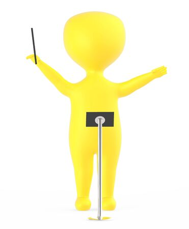 3d yellow music conductor character -3d rendering Foto de archivo - 133730653