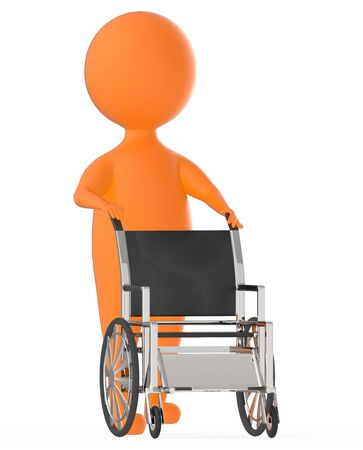 3d orange character moving an empty wheel chair -3d rendering