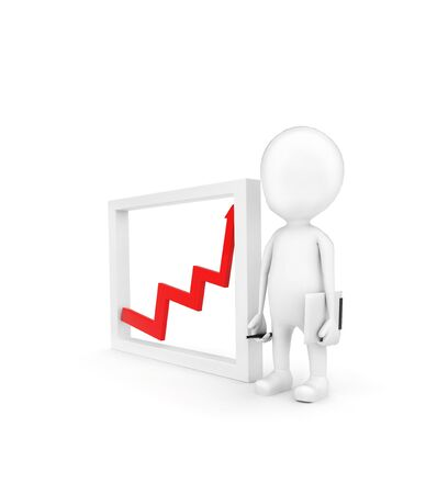 3d man presenting growth graph  concept on white background - 3d rendering , top angle view
