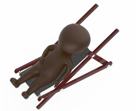 3d brown character resting on a furniture -3d rendering
