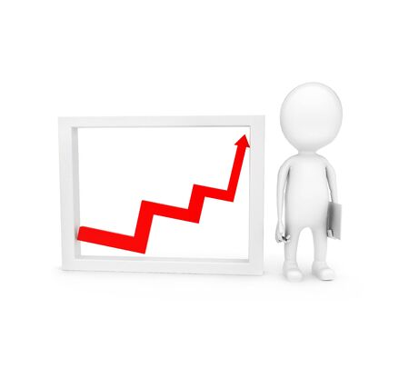3d man presenting growth graph  concept on white background - 3d rendering , front angle view 版權商用圖片