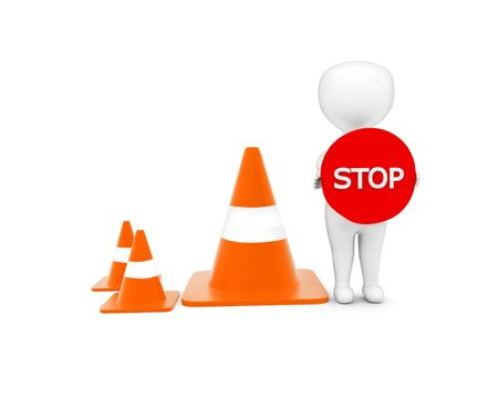 3d man holding a stop sign board in hand while standing near to a series of traffic cones concept in white isolated background - 3d rendering , front angle view Reklamní fotografie