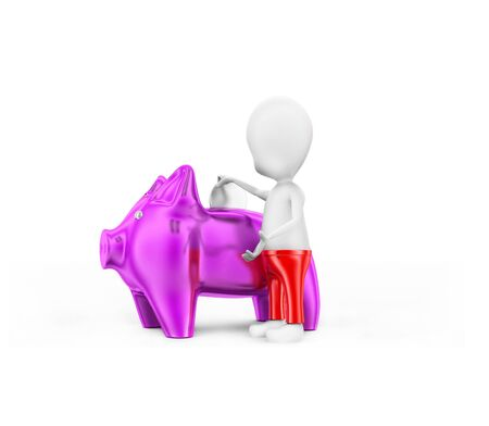 3d man presenting piggy bank concept in white isolated background - 3d rendering , side angle view Stok Fotoğraf