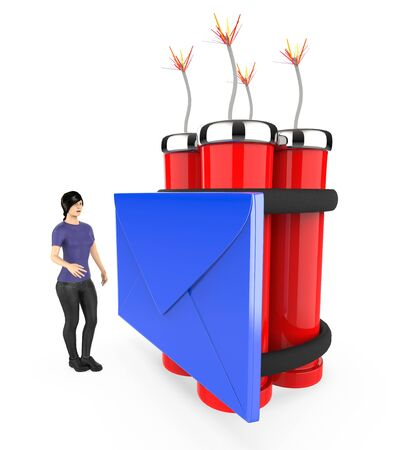 3d character , woman , fearfull , looking at a message  envelope tied to a lighted dynamite - 3d rendering Stock fotó