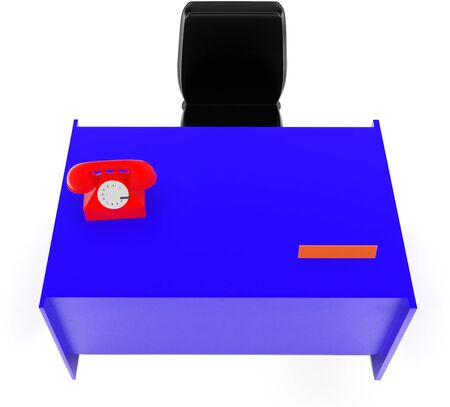 3d telephone , table , chair in white isolated background - 3d rendering , top angle view