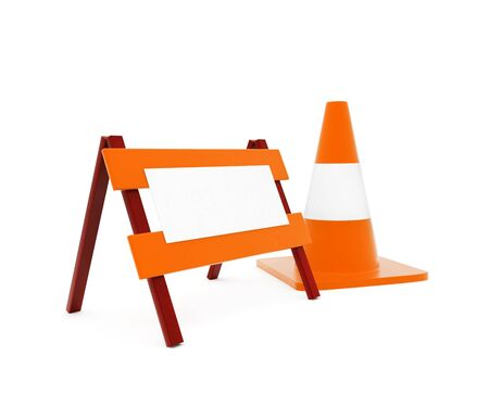 3d traffic cone and a barrier in white isolated background - 3d rendering , side angle view