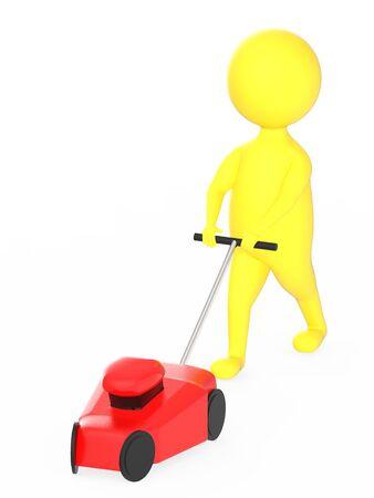 3d yellow character gardener with mover concept - 3d rendering Reklamní fotografie