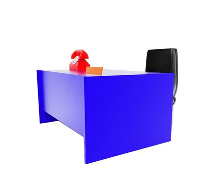 3d telephone , table , chair in white isolated background - 3d rendering , side angle view