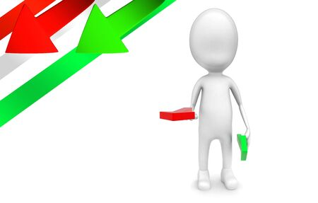 3d man holding a red arrow and green arrow in hands concept  - 3d rendering , front angle view Stok Fotoğraf