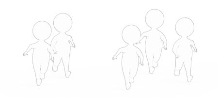 3d white - black outer lined characters runners - 3d rendering 스톡 콘텐츠