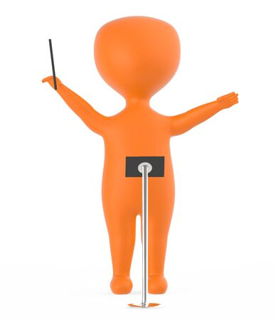 3d orange music conductor character -3d rendering