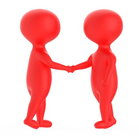 3d red character shake handing each other - 3d rendering