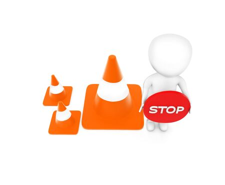 3d man holding a stop sign board in hand while standing near to a series of traffic cones concept in white isolated background - 3d rendering , top angle view