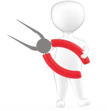 3d white character holding a long nosed pliers -3d rendering