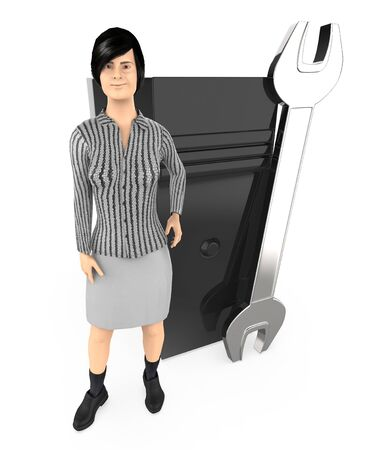3d character ,woman standing near to a wrench and a cpu , technician , repair - 3d rendering