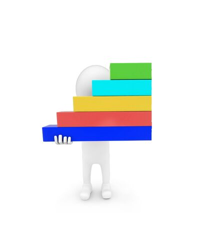 3d man holding bar graph in hand concept on white background - 3d rendering , front angle view