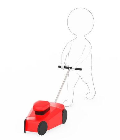 3d white - black outer lined character gardener with mover concept - 3d rendering