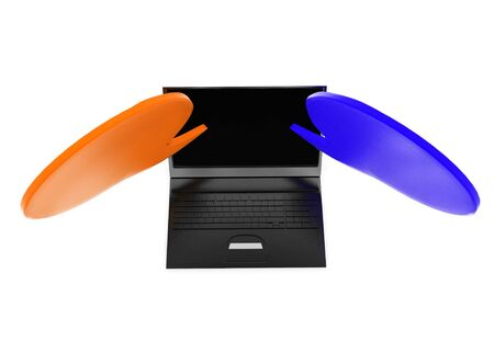 3d laptop with opposite speech bubbles concept in white isolated background , top angle view