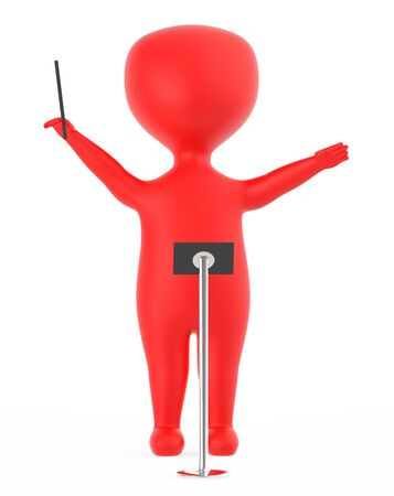 3d red music conductor character -3d rendering Stock Photo