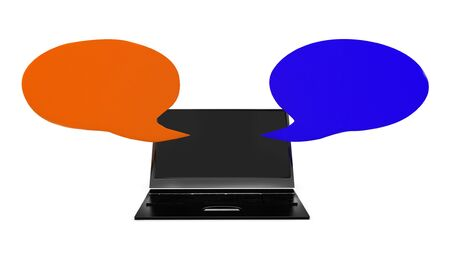 3d laptop with opposite speech bubbles concept in white isolated background , front angle view Stock Photo