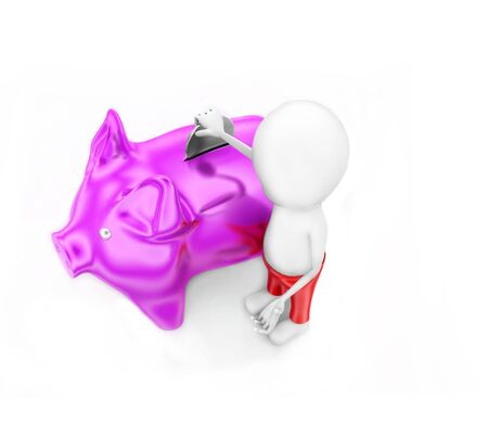 3d man presenting piggy bank concept in white isolated background - 3d rendering , top angle view Stok Fotoğraf