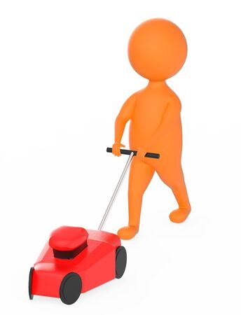 3d orange character gardener with mover concept - 3d rendering Reklamní fotografie