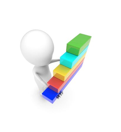 3d man holding bar graph in hand concept on white background - 3d rendering , top angle view