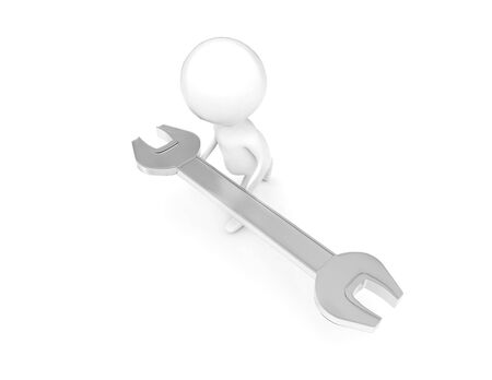 3d man holding a large wrench by both os his hands concept in white isolated background - 3d rendering , top angle view