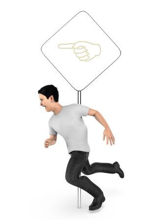 3d character , man running , post with hand sign - 3d rendering