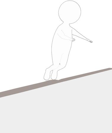 3d white - black outer lined character sliped and falling down from a narrow wall - 3d rendering