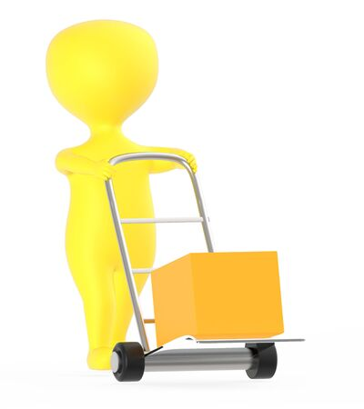 3d yellow character moving a trolley with cardboard box , 3d rendering