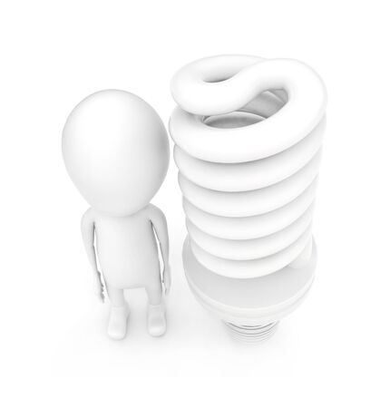 3d man and a CFL bulb on white background - 3d rendering , top angle view