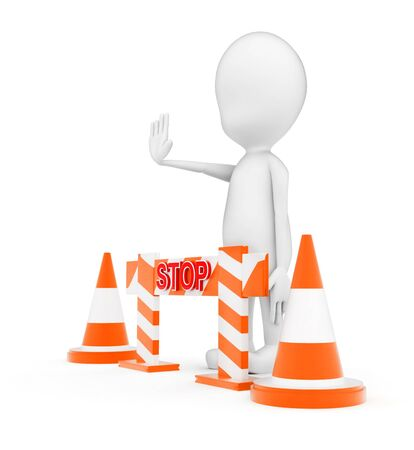 3d man standing near to traffic cones and a barrier and making stop gesture by his hand concept on white background - 3d rendering, side angle view