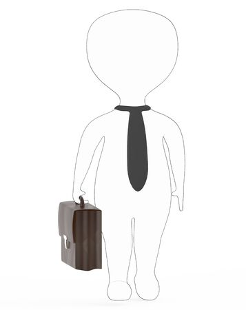 white - black outer lined business character holding a suitcase - 3d rendering