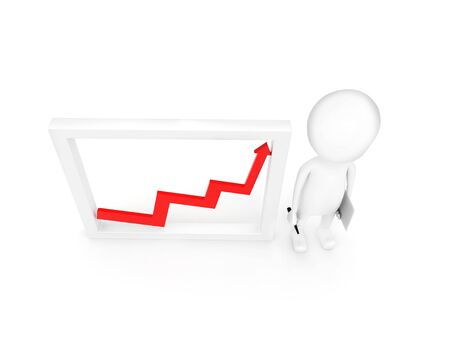 3d man presenting growth graph  concept on white background - 3d rendering , side angle view