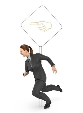 3d character , woman running , post with hand sign - 3d rendering