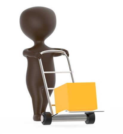 3d brown character moving a trolley with cardboard box , 3d rendering