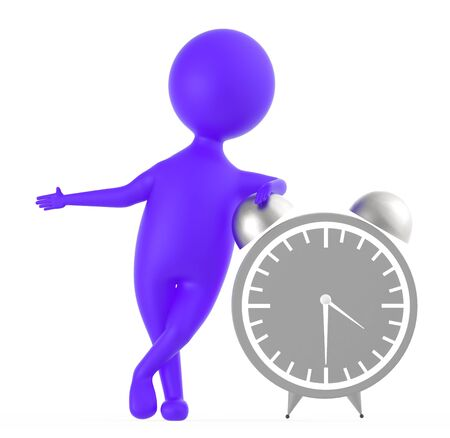 3d purple character standing near to a large size table clock -3d rendering Foto de archivo - 133727936