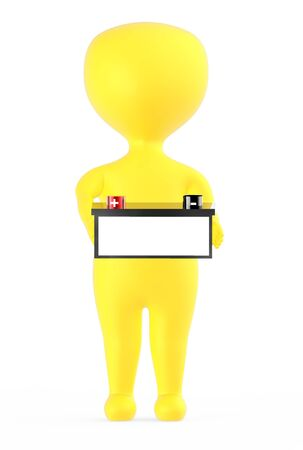 3d yellow character holding a battery with red color positive and black color negative marking - 3d rendering