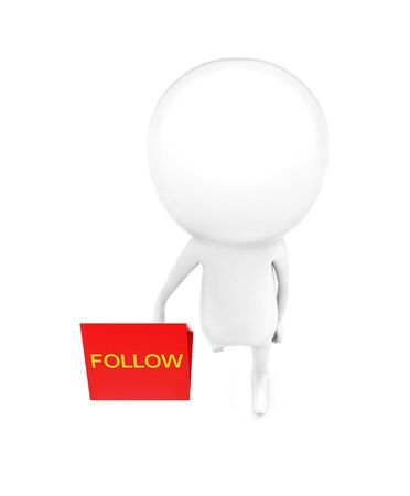 3d man holding a banner with follow text in it concept in white isolated background , top angle view