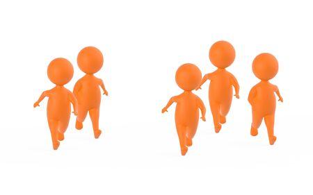 3d orange characters runners - 3d rendering