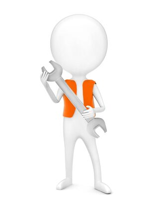 3d man wearing a orange color cloth and holding a wrench in his hands concept in white isolated background - 3d rendering , front angle view