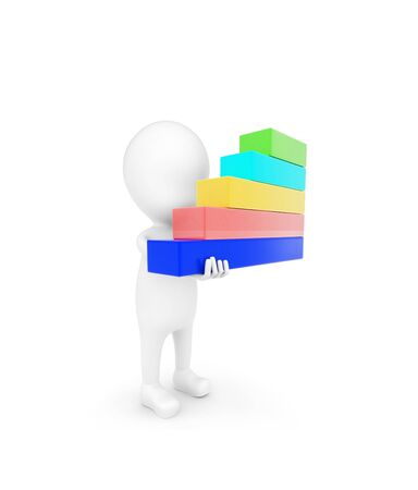 3d man holding bar graph in hand concept on white background - 3d rendering , side angle view 版權商用圖片