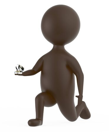 3d brown character proposing isolated in white background - 3d rendering