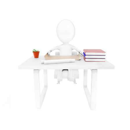 3d man sitting in a chair in front of a table with books , papers and a pot with a indoor plant on the table concept on white background - 3d rendering , front angle view