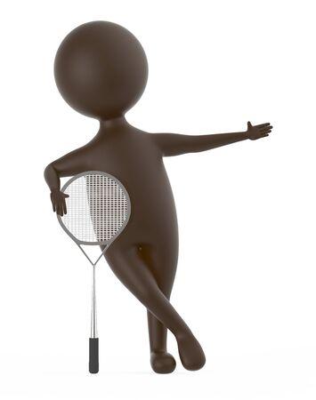 3d brown character with a tennis bat -3d rendering Reklamní fotografie