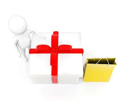 3d man presenting gift box and a shopping bag concept in white isolated background - 3d rendering , top angle view Foto de archivo - 133726954