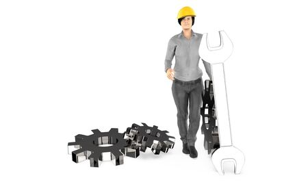 3d character , woman waering a safety cap and standing near to cogwheels and a wrench- 3d rendering Reklamní fotografie