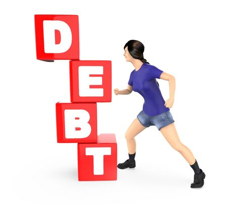 3d character , woman making effort and pushing debt blocks - 3d rendering